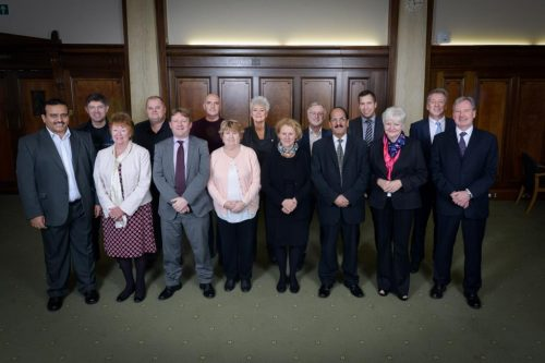 Council leaders standing compressed