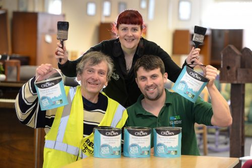 Tim Bradley 23.09.2015 Crown Paints has donated paint to the ReUse Together social enterprise venture Glenfield Business Park, Phillips Road, Blackburn. Pictured here are (l-r) Volunteer Stephen Parker, Rachel Demaine Sustainability Technology Officer at Crown Paints and Paul O'Brien of ReUse Together.