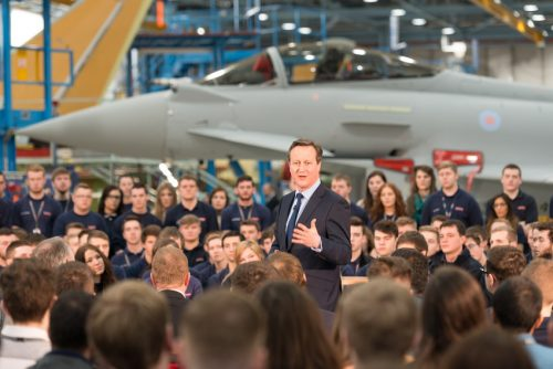 Prime Minister David Cameron, visit to Bae Systems Warton