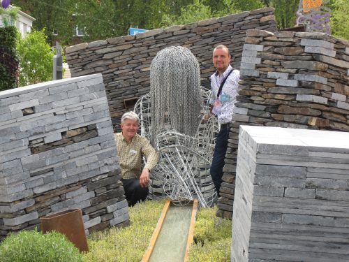 Nick Riley, director at Newground with Sculptor, John Everiss