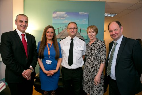 Brian Lathan of Crown Paints,  Nicky Lidbetter of Self Help Services, Greater Manchester Police Assistant  Chief Constable Ian Wiggett, Shirley Entwistle of MITIE and Deputy Police and Crime Commissioner for Greater Manchester, Jim Battle