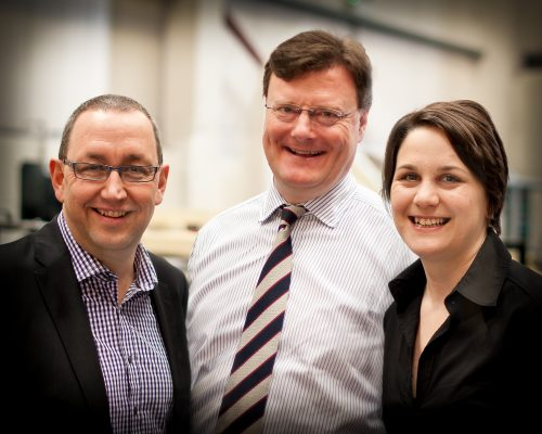 Marcus Moir (centre) with Peter Drever and Helen Williams
