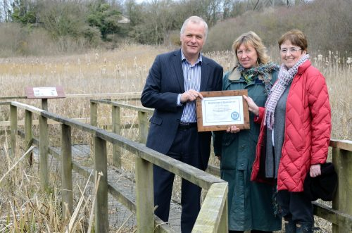 Alan Oulton, Heysham 2, with Anne Selby, the Wildlife Trust, and Christine Blythe, biodiversity manager for EDF Energy