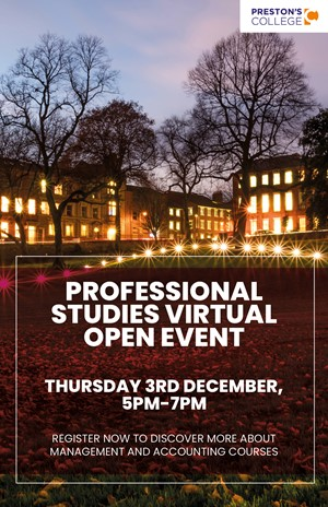 Preston's College: Adult virtual open event - professional studies